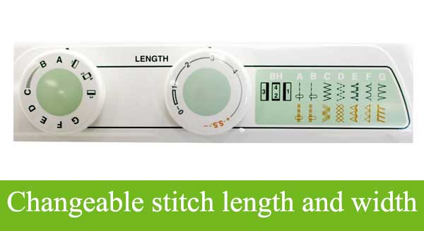 Changeable stitch length and width