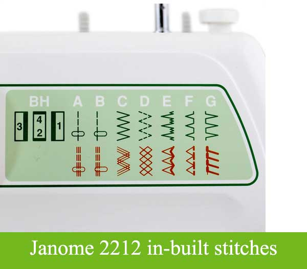 Janome 2212 in-built stitches