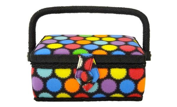 Home-X Polka Dot Sewing Basket