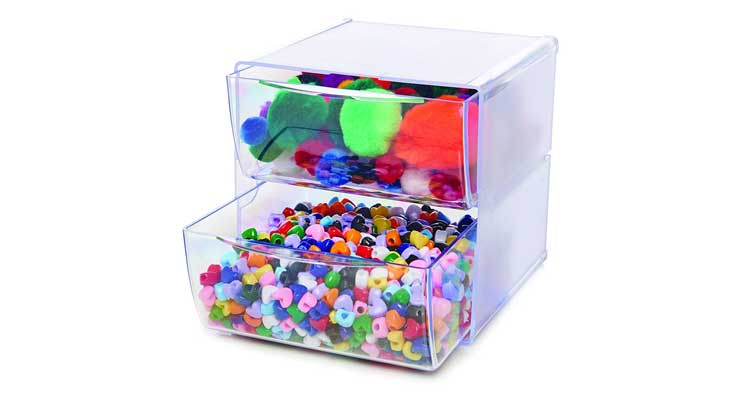 2-Drawer Craft Organizer Cube Open