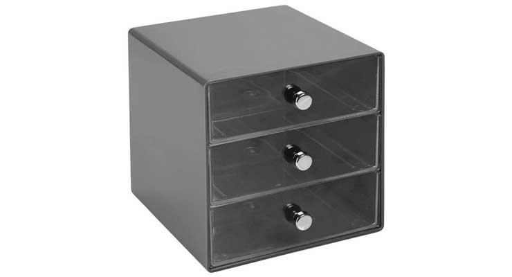 3-Drawer Craft Organizer Cube Black