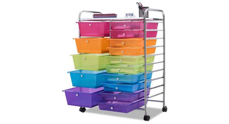 Giantex 15 Drawer Rolling Storage Cart Tools Open