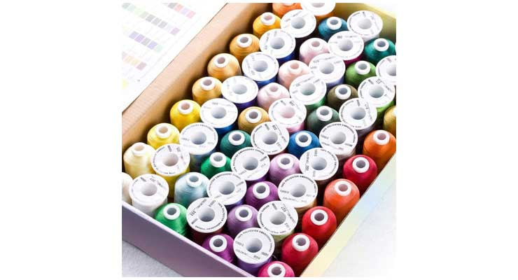 Simthread 63 Brother Colors Polyester Embroidery Machine Thread Kit Box