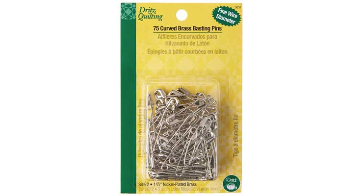 Dritz 3031 Curved Basting Safety Pins, Size 2