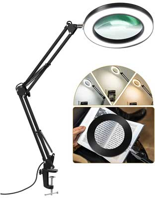 LANCOSC LED Magnifying Lamp with Clamp